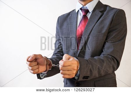 Business Man Criminal Handcuffed - Business Criminal, Debt, Burden Concept
