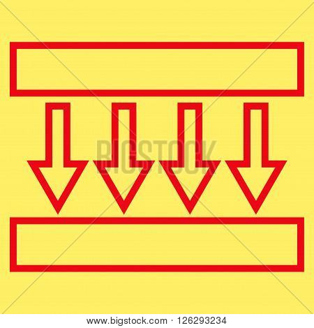 Pressure Vertical vector icon. Style is thin line icon symbol, red color, yellow background.