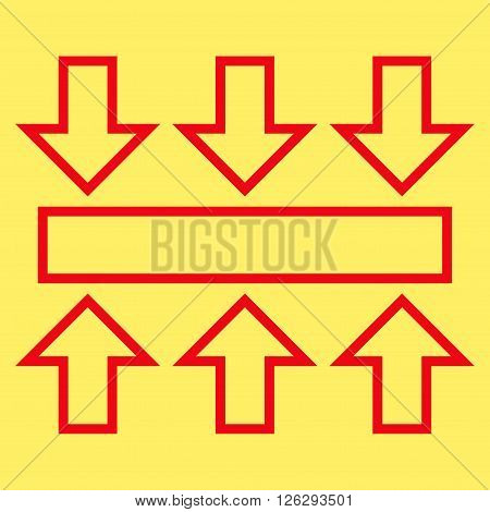 Pressure Vertical vector icon. Style is contour icon symbol, red color, yellow background.