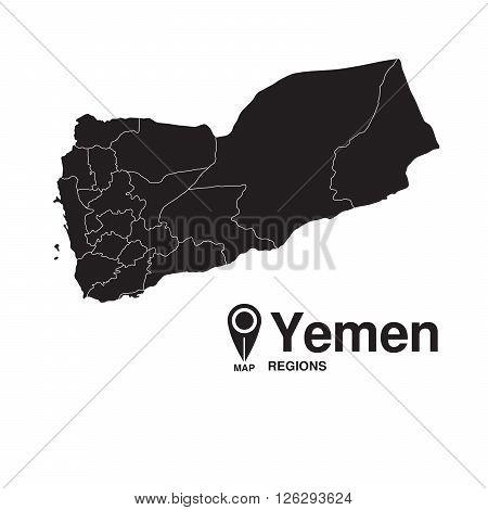 Yemen map regions. Yemen vector map silhouette