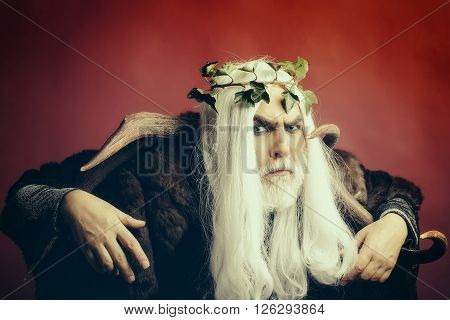 Zeus god man or jupiter with antlers and vine crown on long hair with beard