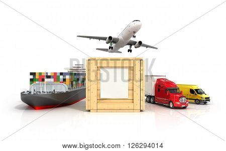 3d render of different modes of transport go out of a wooden box with a blank sheet on it