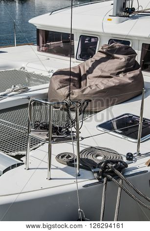 Blocks and rigging at the sailboat, close-up
