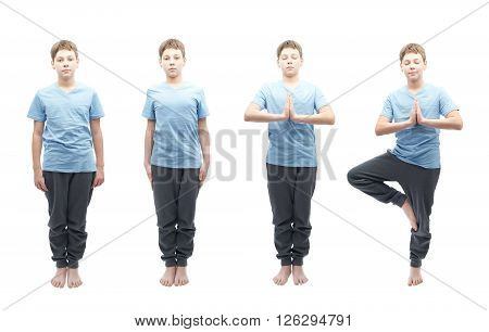 Four full shots of a young boy doing yoga, from tired beginner to a focused in meditation professional. Composition isolated over the white background