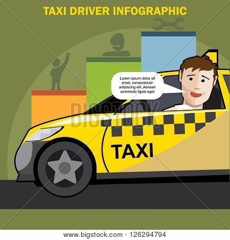 Public taxi cab driver presenting infographics with charts