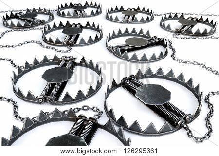 Traps isolated on a white background. 3D illustration.