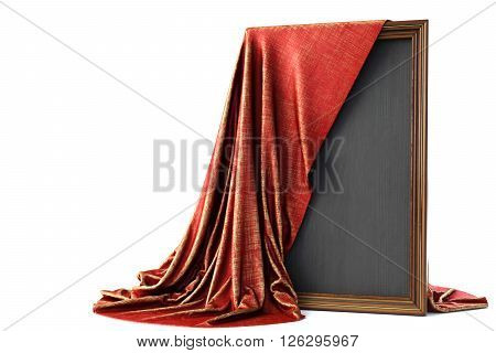 Wooden frame covered with a luxurious red cloth. Isolated on white background.