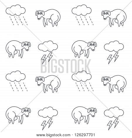Poor lost homeless frightened dogs outside in bad weather. Dogs with tucked tails. Dog with tail between legs. Vector line seamless pattern black on white background.