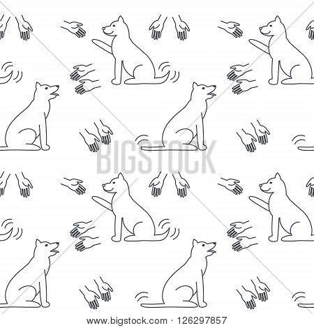 Many hands stretched to dogs. Dog adoption concept. Vector line seamless pattern black on white background.