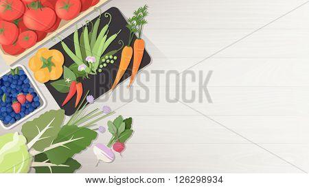 Tasty fresh vegetables on a wooden worktop healthy vegetarian eating concept