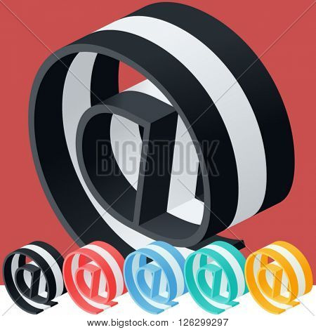 3D trendy and stylish  graphic vector stripped  alphabet. Optional different colors. Symbol 7