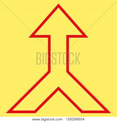Combine Arrow Up vector icon. Style is outline icon symbol, red color, yellow background.
