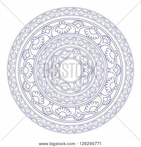 The circular symbol, the mandala. Decorative circular ornamental elements on a white background. Ethnic ornament.