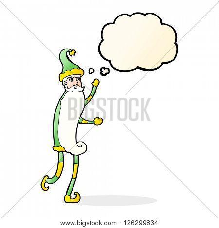 cartoon skinny santa with thought bubble