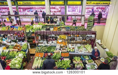 Logroño Spain - April 9 2016. People shopping vegetables in San Blas Market (Mercado de Abastos). San Blas is the main fresh-produce market in downtown of Logroño La Rioja. Spain.