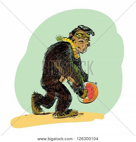 The evolution of men monkey line art comic hand drawn