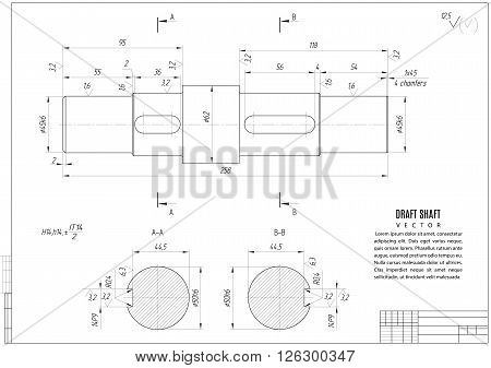 technical drawing construction draft with horizontal frame on the white background. stock vector illustration eps10