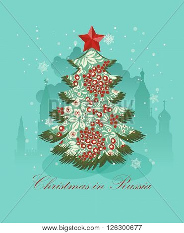 Christmas greeting card with russian christmas tree.