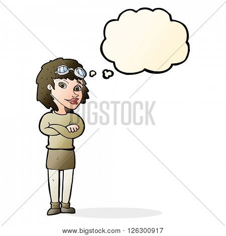 cartoon woman with crossed arms and safety goggles with thought bubble