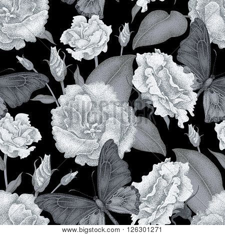 Seamless vector floral background. Flowers and butterflies. Illustration of flowers in the Victorian style. Vintage pattern of flowers and butterflies. White roses and butterflies on black background.