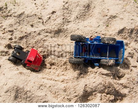Plastic Toy Truck On Sands, Accident In The Salt Sand Of The Coast