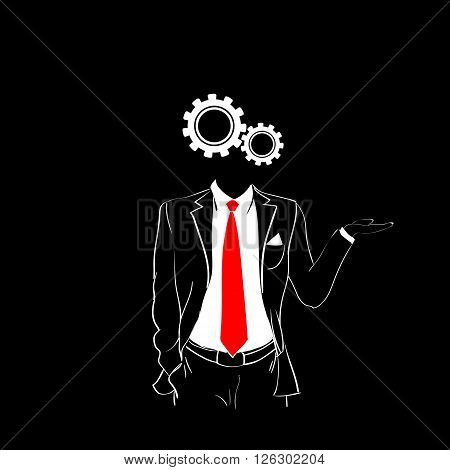 Man Silhouette Suit Red Tie Cog Wheel Head Black Background Contour Outline Vector Illustration