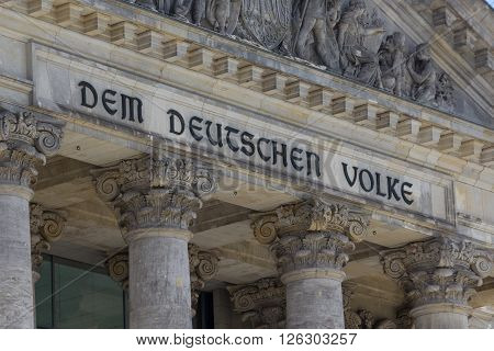 Berlin, Germany - April 18, 2016: Detail of the Reichstag Berlin Germany.