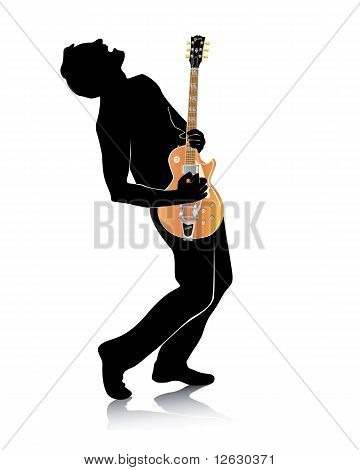 Silhouette Of A Guitar With An Electric Guitar
