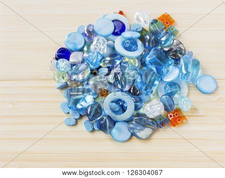 Multicolor gems, stones, minerals, beads, colorful background with gems and beads