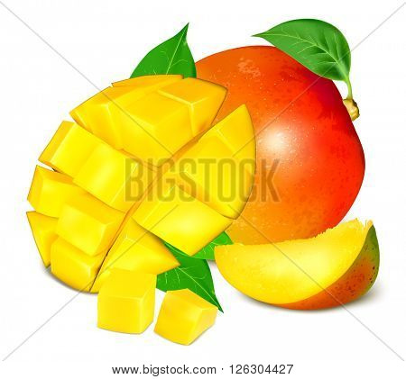 Ripe fresh mango with slices and leaves. Vector illustration.