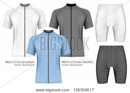 Men's short sleeve cycling jersey and cycling shorts. Fully editable handmade mesh. Vector illustration.
