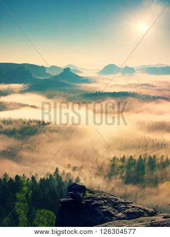 Fairy Daybreak. Misty Awakening In A Beautiful Hills. Peaks Of Hills Are Sticking Out From Foggy Bac