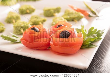 Decorative Tomatoes with Chicken lollipops in a resturent