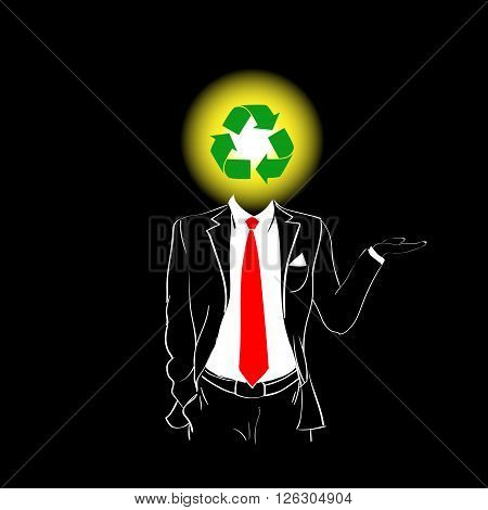 Man Silhouette Suit Red Tie Recycle Green Symbol Head Concept Black Background Contour Outline Vector Illustration