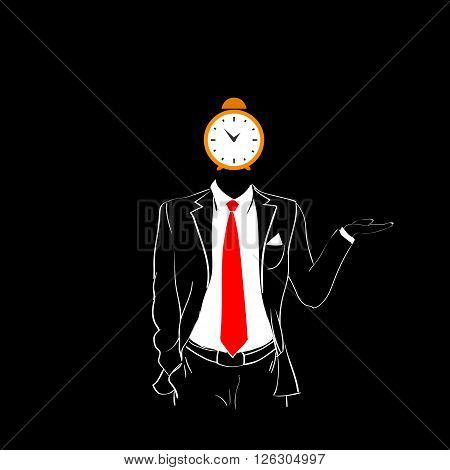 Man Silhouette Suit Red Tie Alarm Clock Head Deadline Concept Black Background Contour Outline Vector Illustration