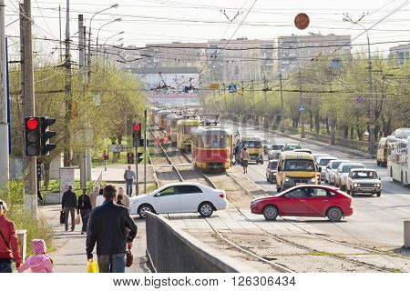 Trams Are On Rails In Connection With A Traffic Accident On The Road