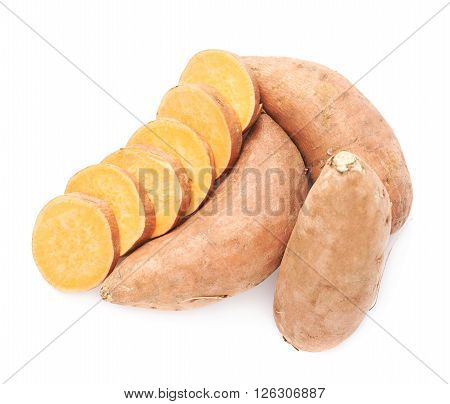 Sweet potato or Ipomoea batatas composition isolated over the white background