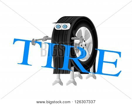 robot holding a wrench Robot-wheel logo of the service center robot wheel is engaged in installation of tires on wheels