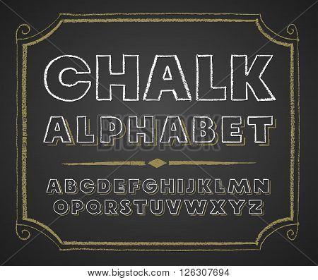 Decorative capital letters hand drawn on a chalkboard. Eps8. RGB. Global colors