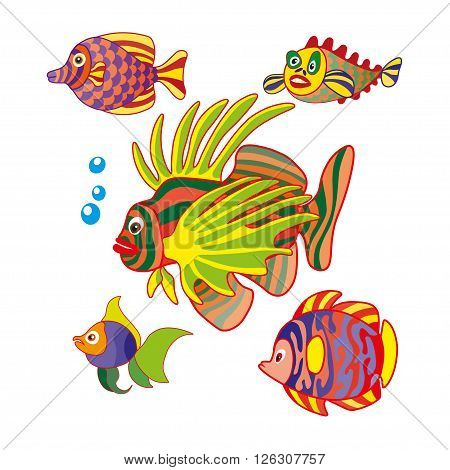 Set of exotic colorful fish. Abstract isolated fish on white background. Vector illustration