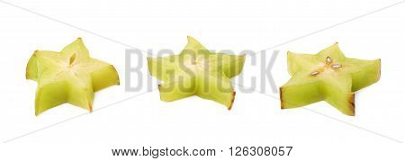Averrhoa carambola starfruit cross-section slice isolated over the white background, set of three different foreshortenings