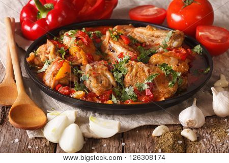 Georgian Cuisine: Chakhokhbili Chicken Stew With Vegetables. Close-up. Horizontal