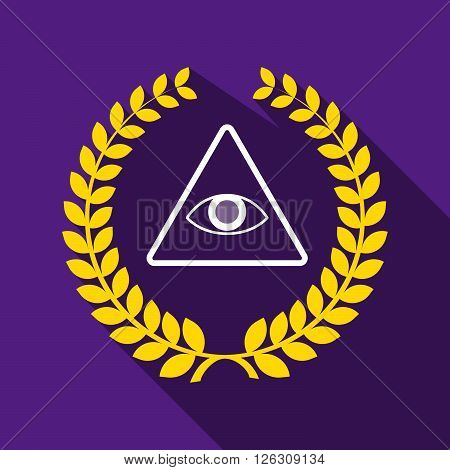 Long Shadow Laurel Wreath Icon With An All Seeing Eye