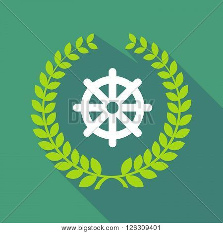 Long Shadow Laurel Wreath Icon With A Dharma Chakra Sign