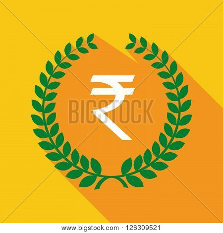 Long Shadow Laurel Wreath Icon With A Rupee Sign