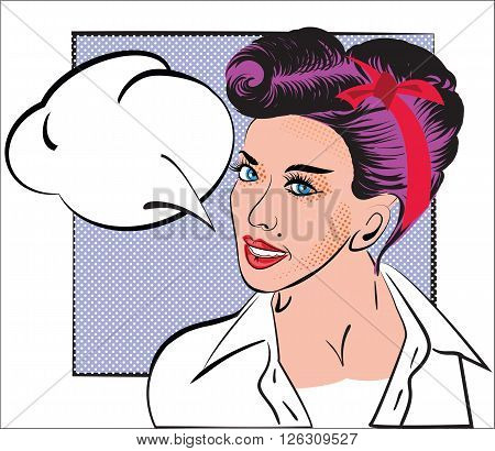 Portrait of girl in style pop art, comic books, sketch. Woman with purple hair, retro hairstyle, in white shirt, vintage style on the background of the frame and speech bubble. Design for card, flyers