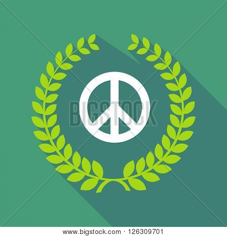 Long Shadow Laurel Wreath Icon With A Peace Sign