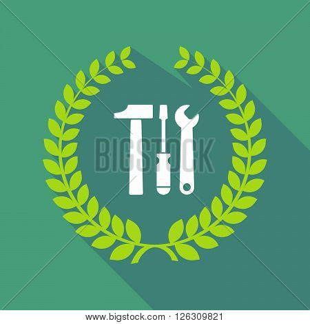 Long Shadow Laurel Wreath Icon With A Tool Set