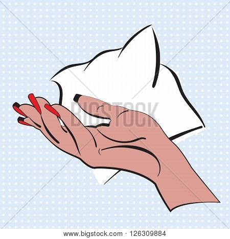 Hand with bright red nail polish made in style pop art. Woman hand on a blue dots background with speech bubble for text.Vector illustration design for comics, posters, flyers, postcards, banners.