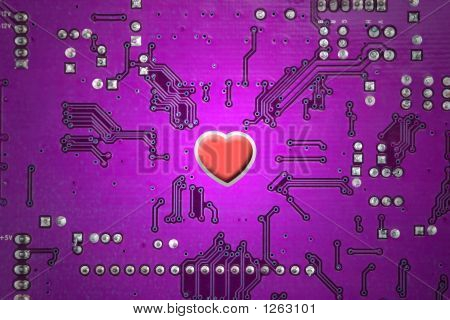 Red Heart And Circuit Board